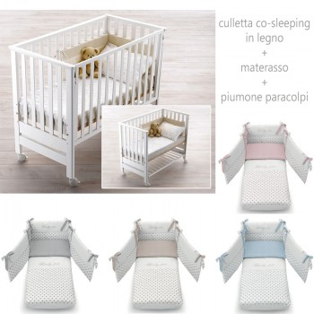 CULLA LETTINO CO-SLEEPING CONTACT + MATERASSO +PIUMONE PARACOLPI AZZURRA DESIGN